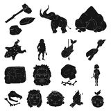 Life in the Stone Age black icons in set collection for design. Ancient people vector symbol stock web illustration. Life in the Stone Age black icons in set Royalty Free Stock Image
