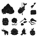 Life in the Stone Age black icons in set collection for design. Ancient people vector symbol stock web illustration. Life in the Stone Age black icons in set Royalty Free Stock Images