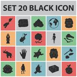 Life in the Stone Age black icons in set collection for design. Ancient people vector symbol stock web illustration. Life in the Stone Age black icons in set Royalty Free Stock Photos