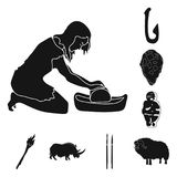 Life in the Stone Age black icons in set collection for design. Ancient people vector symbol stock web illustration. Life in the Stone Age black icons in set Stock Photo
