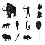 Life in the Stone Age black icons in set collection for design. Ancient people vector symbol stock web illustration. Life in the Stone Age black icons in set Royalty Free Stock Photography