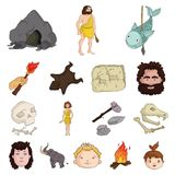 Life in the Stone Age cartoon icons in set collection for design. Ancient people vector symbol stock web illustration. Life in the Stone Age cartoon icons in Royalty Free Stock Photography