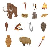 Life in the Stone Age cartoon icons in set collection for design. Ancient people vector symbol stock web illustration. Life in the Stone Age cartoon icons in Royalty Free Stock Photos