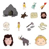 Life in the Stone Age cartoon icons in set collection for design. Ancient people vector symbol stock web illustration. Life in the Stone Age cartoon icons in Royalty Free Stock Photo