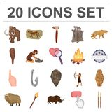 Life in the Stone Age cartoon icons in set collection for design. Ancient people vector symbol stock web illustration. Life in the Stone Age cartoon icons in Royalty Free Stock Image