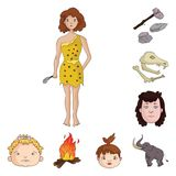 Life in the Stone Age cartoon icons in set collection for design. Ancient people vector symbol stock web illustration. Life in the Stone Age cartoon icons in Stock Image