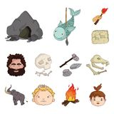 Life in the Stone Age cartoon icons in set collection for design. Ancient people vector symbol stock web illustration. Life in the Stone Age cartoon icons in Stock Photos