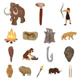 Life in the Stone Age cartoon icons in set collection. For design. Ancient people vector symbol stock  illustration Royalty Free Stock Images