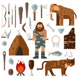 Life stone age caveman cave bonfire mammoth bone vector. Stock Photography