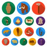 Life in the Stone Age flat icons in set collection for design. Ancient people vector symbol stock web illustration. Life in the Stone Age flat icons in set Royalty Free Stock Image