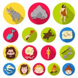 Life in the Stone Age flat icons in set collection for design. Ancient people vector symbol stock web illustration. Life in the Stone Age flat icons in set Stock Photos