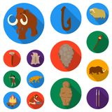 Life in the Stone Age flat icons in set collection for design. Ancient people vector symbol stock web illustration. Life in the Stone Age flat icons in set Royalty Free Stock Photos
