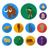 Life in the Stone Age flat icons in set collection for design. Ancient people vector symbol stock web illustration. Life in the Stone Age flat icons in set Royalty Free Stock Photography
