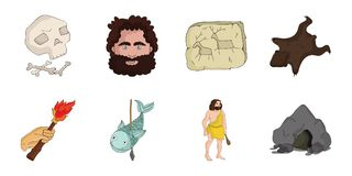 Life in the Stone Age icons in set collection for design. Ancient people vector symbol stock web illustration. Stock Photo