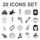 Life in the Stone Age monochrome icons in set collection for design. Ancient people vector symbol stock web illustration. Life in the Stone Age monochrome icons Royalty Free Stock Images
