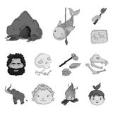 Life in the Stone Age monochrome icons in set collection for design. Ancient people vector symbol stock web illustration. Life in the Stone Age monochrome icons Stock Photos