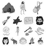 Life in the Stone Age monochrome icons in set collection for design. Ancient people vector symbol stock web illustration. Life in the Stone Age monochrome icons Royalty Free Stock Image