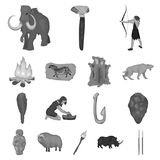 Life in the Stone Age monochrome icons in set collection for design. Ancient people vector symbol stock web illustration. Life in the Stone Age monochrome icons Stock Images