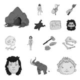 Life in the Stone Age monochrome icons in set collection for design. Ancient people vector symbol stock web illustration. Life in the Stone Age monochrome icons Stock Image
