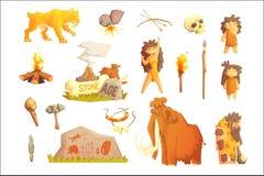 Life stone age Primitive man. Ice age. Life stone age Primitive man Ice age Cavemen. Stone age. Neanderthals. sapiens. Extinct species. Evolution. Hunting. Flat stock illustration