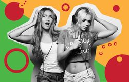 Art fashion collage - Beauty girls with a microphone singing and dancing. Life style, happiness, emotional and people concept: beauty hipster girls with a Royalty Free Stock Photo