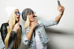 Life style, happiness, emotional and people concept: two hipster Stock Images