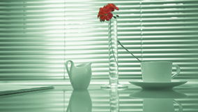 Life style. house. glass table with a book, a cup of tea and milk in the background window. hand holds a flower in a stock video