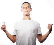 Life style and people concept: casual young man in shirt with bo Royalty Free Stock Images