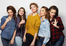 Life style and people concept: group of five girls friends Stock Photos