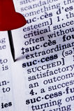 Life success. A page of an dictionary with focused on the word success royalty free stock images