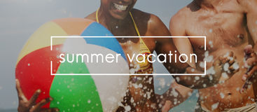 Life Summer Beach Vacation Concept. People Life Summer Beach Vacation royalty free stock photo