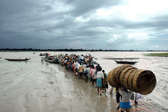 Daily life of Sundarban-India. People are waiting for ferryboat during low tide. Water transport is the only means of communication for visiting the Sundarbans stock photos