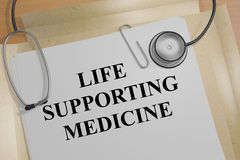 Life Supporting Medicine concept. 3D illustration of LIFE SUPPORTING MEDICINE title on a document Stock Images