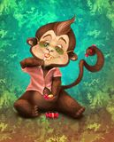 The life is sweet when you have somebody to share with!. Share candies, sweet emotions and cool moments with me and my little buddy - Tony monkey Stock Illustration