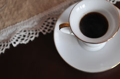 Life tasting. Espresso in a white cup of coffee royalty free stock images