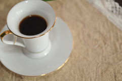 Life tasting. Espresso in a white cup of coffee stock images