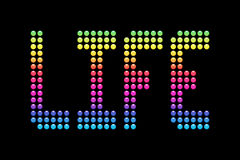 Life In Technicolor on a LED Board. The word Life lit up in rainbow lights on a LED board. EPS10 vector illustration