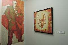 Life and Theatre of Alexander Tikhomirov. Vladimir Lenin portraits. Life and Theatre of Alexander Tikhomirov. Exhibition at Moscow Museum of Modern Art, Moscow Royalty Free Stock Photos