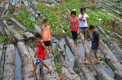Life on timber. Children play on the timber in Construction Area in Chao Phraya River Stock Photos