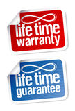 Life time guarantee stickers Stock Photography