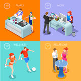 Life Time 01 People Isometric Royalty Free Stock Photos