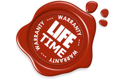 Life time warranty seal  on white background. Image with hi-res rendered artwork that could be used for any graphic design Stock Photo