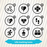 Life tracking icons Stock Photo