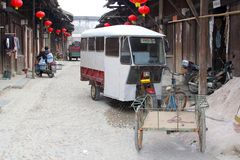 Characteristic daily life in unspoiled town Daxu,Guilin,China Stock Photography