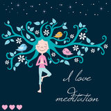 Life tree meditation and girl vector Stock Images