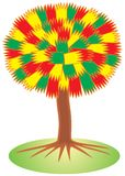 Life tree (red, yellow, green) Stock Image