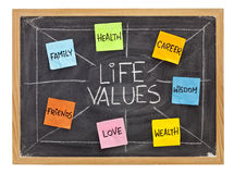 Life values concept on blackboard Royalty Free Stock Photo
