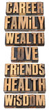 Life values list in wood type Royalty Free Stock Image