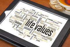 Life values word cloud. Life values - word cloud on a digital tablet with a cup of tea royalty free stock photo