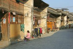 Daily life in a very old street in Xingping,China Stock Photos